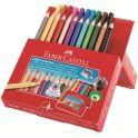 Цветные карандаши Jumbo Grip 12 шт + фломастеры 10 шт и металлическая точилка в картонной коробке