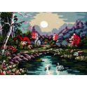 "Картина по номерам Рыжий кот ""Пруд и домики"", Х-7836, 42 х 40 см"