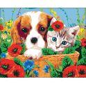 """Картина по номерам Школа талантов """"Котенок и щенок"""", 2711892, 40 х 50 см"""