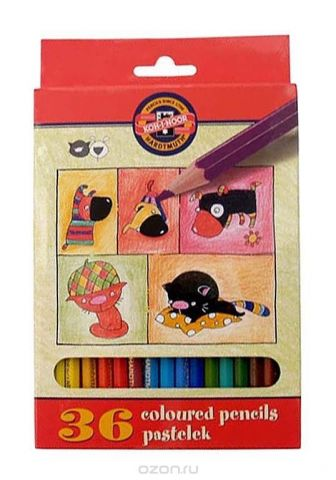 """Цветные карандаши """"Собаки и Кошки"""", 36 цветов"""