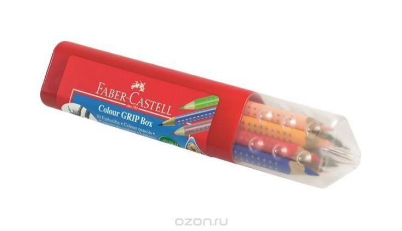 Цветные карандаши GRIP 2001, набор цветов, в пластмассовой тубе, 10 шт.
