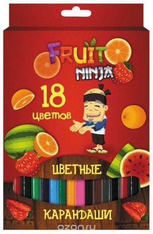 Набор карандашей цветных, ACTION!FRUIT NINJA, с печатью на корпусе, 18 цв., е/п