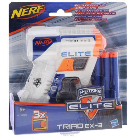 "Nerf Бластер ""N-Strike Elite: Triad EX-3"", с патронами, цвет: белый, синий, оранжевый"