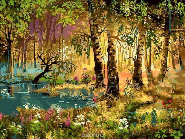 """Живопись на холсте Белоснежка """"Утро в лесу"""", 30 х 40 см"""