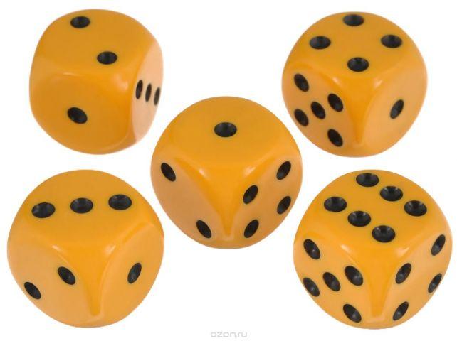 Набор игральных костей Компания Игра, 20 мм, цвет: желтый, 5 шт