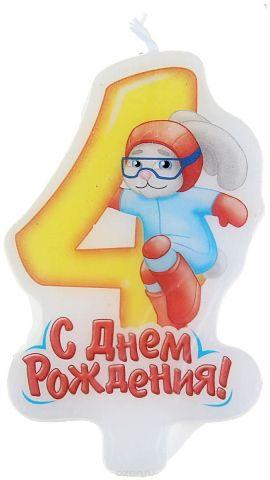 Sima-land Свеча-цифра для торта Супергерои 4 года