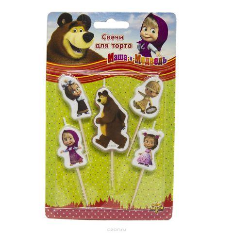 Маша и Медведь Свечи для торта на пиках 5 шт
