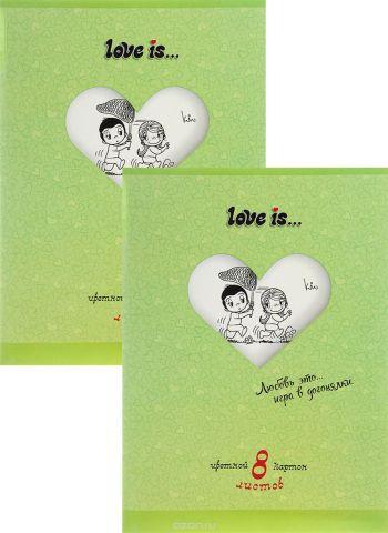 Action! Набор цветного картона Love is… 8 листов цвет папки зеленый 2 шт