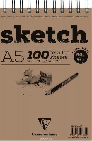 """Блокнот Clairefontaine """"Sketch"""", для сухих техник, на спирали, цвет: белый, формат A5, 100 листов"""