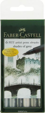 Faber-Castell Набор капиллярных ручек Pitt Artist Pen Brush 6 цветов