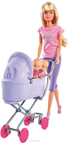 Simba Игровой набор с куклой Штеффи с коляской цвет сиреневый розовый