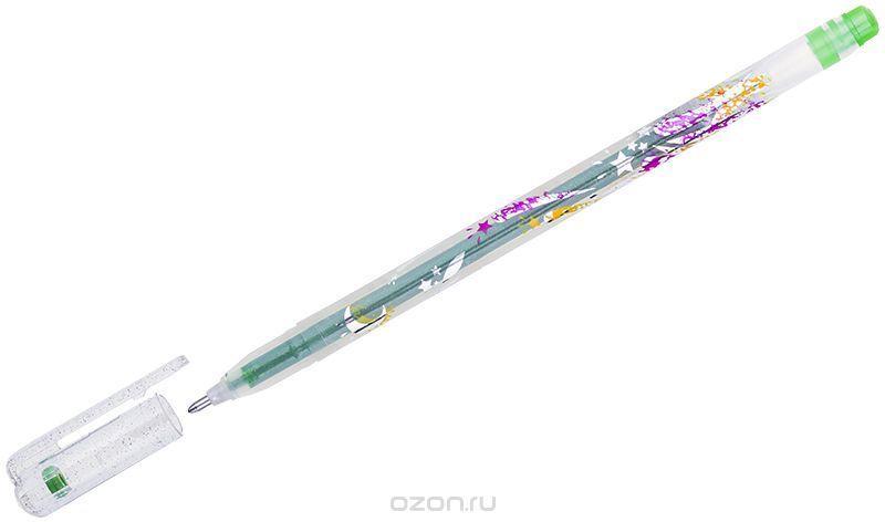 Crown Ручка гелевая Люрекс светло-зеленая