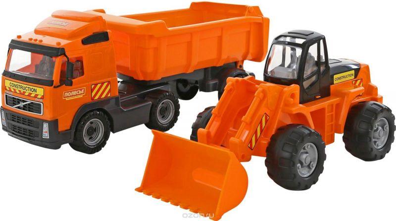 Полесье Набор машинок Самосвал Volvo с полуприцепом Трактор-погрузчик