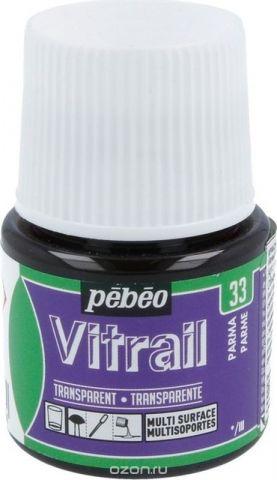 Pebeo Краска для стекла и металла Vitrail лаковая прозрачная цвет 050-033 пармский 45 мл