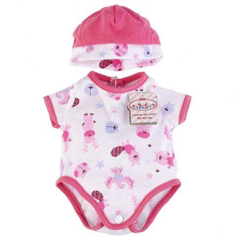 Карапуз Комплект одежды для кукол Боди с шапочкой цвет розовый белый