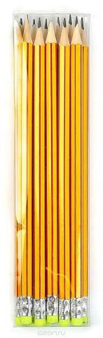 Calligrata Карандаш чернографитный Полоски с ластиком твердость HB цвет корпуса желтый красный 2864370