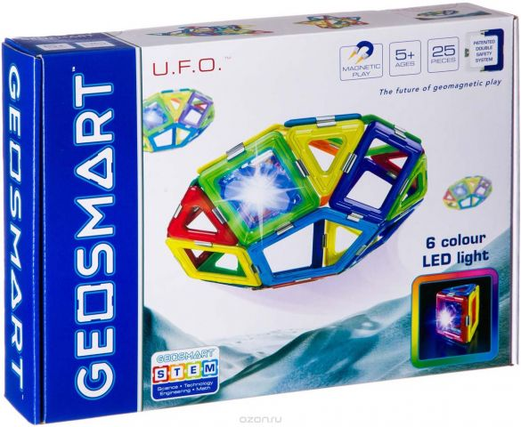 Bondibon Магнитный конструктор Geosmart НЛО светящееся