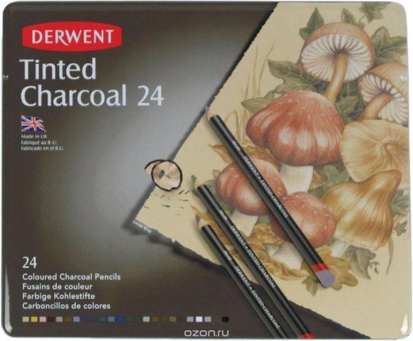 Derwent Набор угольных карандашей Tinted Charcoal 24 шт