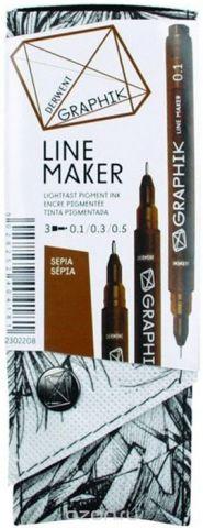 Derwent Набор капиллярных ручек Graphik Line Maker цвет сепия 3 шт