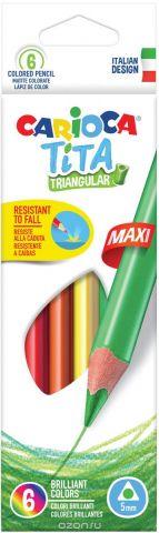 Carioca Набор крупных цветных карандашей Tita Maxi 6 цветов
