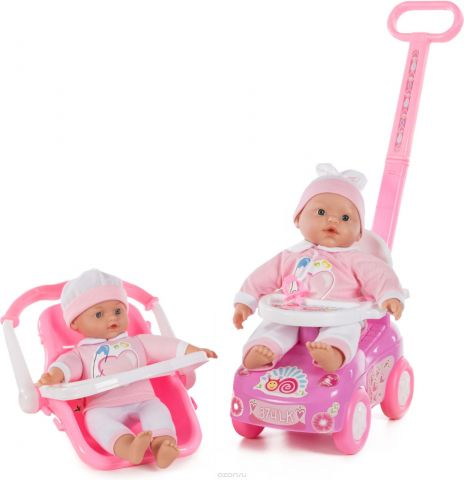 """Кукла Loko """"My Dolly Sucette. Первые шаги"""", с каталкой, автокреслом и ходунками, 2 шт"""