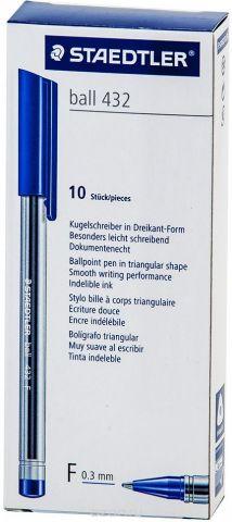 Набор шариковых ручек Staedtler Ball 432 F, цвет чернил: синий, 10 шт