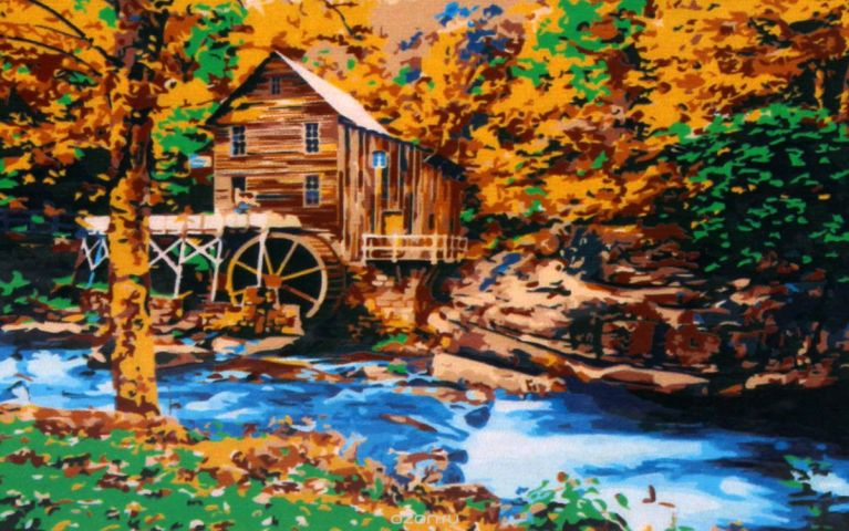 "Картина по номерам Рыжий кот ""Водяная мельница"", PP009, 49 х 40 см"