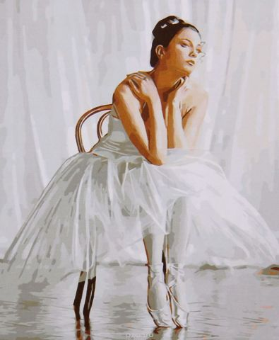 "Картина по номерам Школа талантов ""Балерина сидящая на стуле"", 2461723, 30 х 40 см"